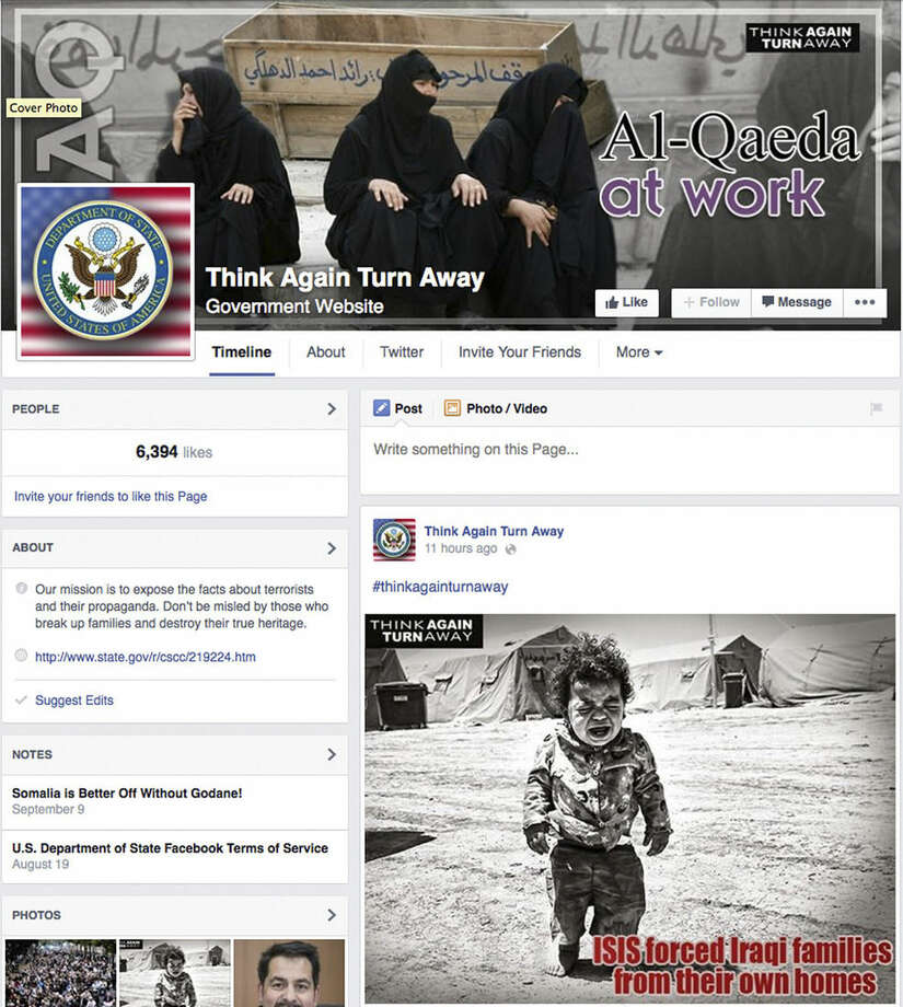"This Screen grab from the U.S. Department of State's Facebook page ""Think Again Turn Away,"" taken Sept. 20, 2014, criticizes the Islamic State group as part of a broad social media campaign. As the Islamic State group battles across Syria and Iraq, pushing back larger armies and ruling over entire cities, it is also waging an increasingly sophisticated media campaign that has rallied disenfranchised youth and outpaced the sluggish efforts of Arab governments to stem its appeal. The U.S. State Department launched a ""Think Again Turn Away"" campaign on YouTube, Facebook and Twitter, with Arabic and English videos similar in style to those of al-Qaida and the Islamic State group but none have gained the traction of the Islamic State's videos. (AP Photo)"