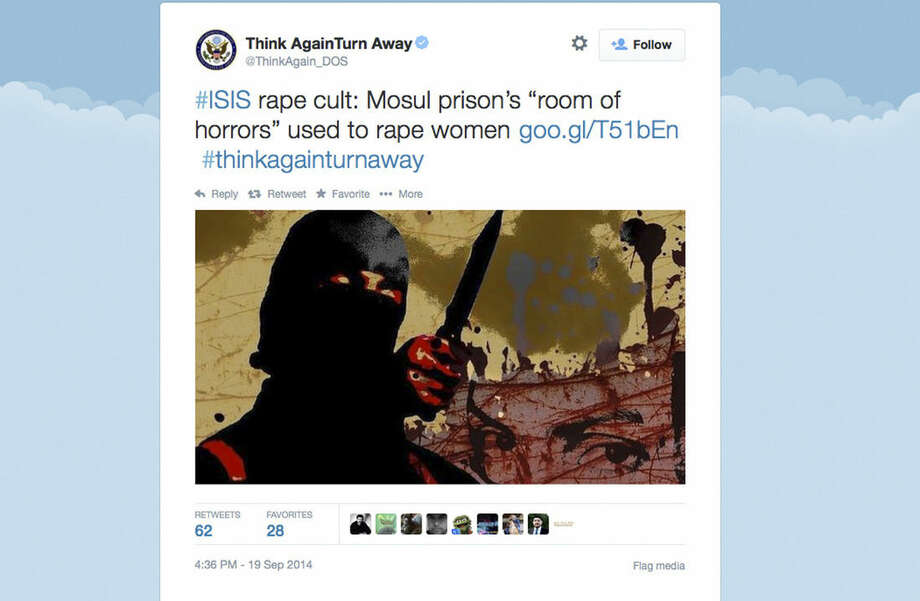 "This Screen grab from the U.S. Department of State's Twitter page ""Think Again Turn Away,"" taken Sept. 20, 2014, criticizes the Islamic State group as part of a broad social media campaign. As the Islamic State group battles across Syria and Iraq, pushing back larger armies and ruling over entire cities, it is also waging an increasingly sophisticated media campaign that has rallied disenfranchised youth and outpaced the sluggish efforts of Arab governments to stem its appeal. The U.S. State Department launched a ""Think Again Turn Away"" campaign on YouTube, Facebook and Twitter, with Arabic and English videos similar in style to those of al-Qaida and the Islamic State group, but none have gained the traction of the Islamic State's videos. (AP Photo)"
