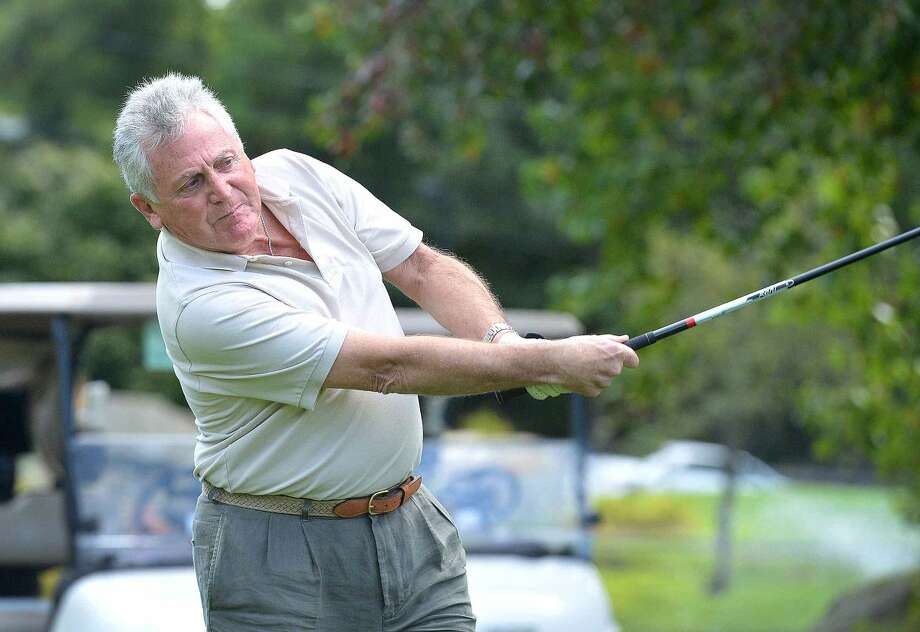 Hour Photo/Alex von Kleydorff Norwalk Mayor Harry Rilling sends a drive down the fairway as he tees off on the 7th hole at Oak Hills Park during the Frank Esposito Mayor's Trophy Tournament