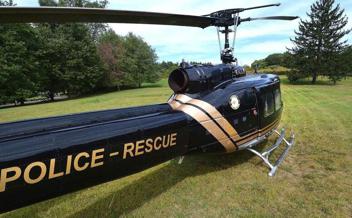 Hour Photo/Alex von Kleydorff Town of Stratford's Police Rescue helicopter Eagle One lands at Dolce Center in Norwalk