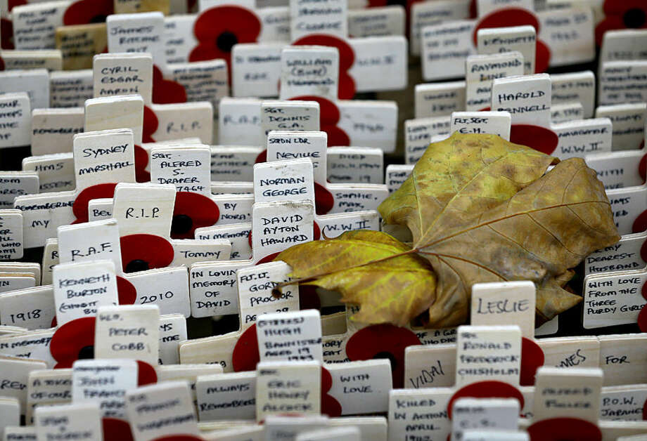 Fallen leaves lie on the wooden crosses placed at the Field of Remembrance at Westminster Abbey in London, Thursday, Nov. 5, 2015. The Royal British Legion have been organising the Field of Remembrance since 1928, wooden crosses are planted to remember those who have lost their life in service to the country. (AP Photo/Kirsty Wigglesworth)