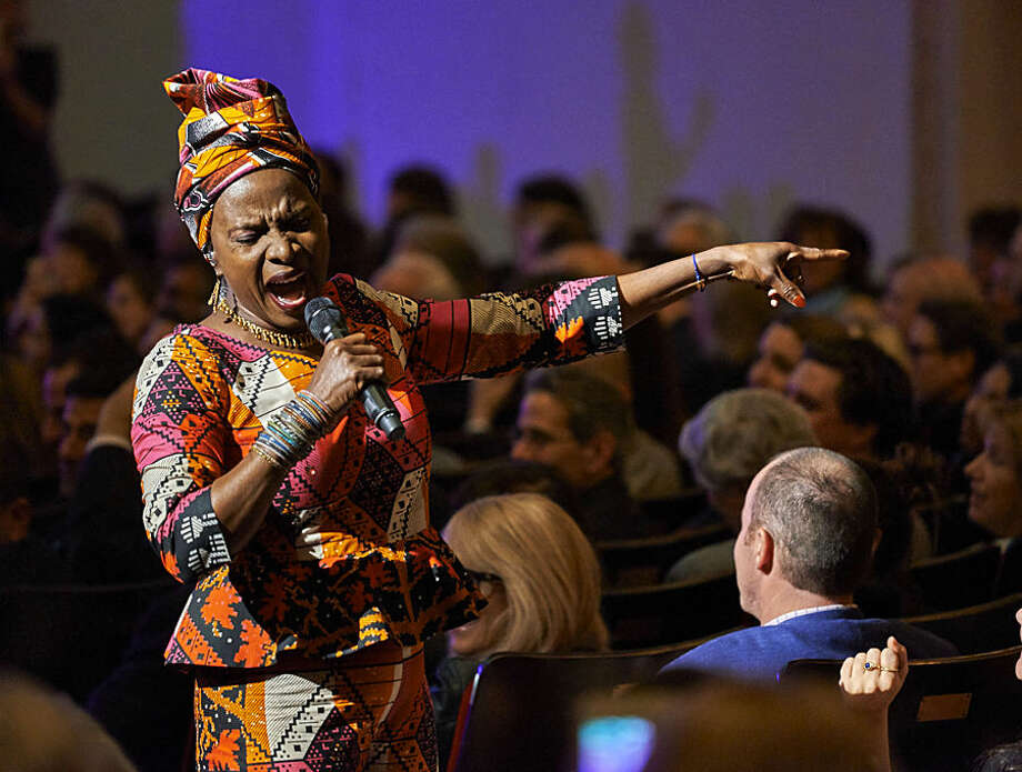 Angelique Kidjo performs at the David Lynch Foundation Benefit Concert at Carnegie Hall on Wednesday, Nov. 4, 2015, in New York. (Photo by Robert Altman /Invision/AP)