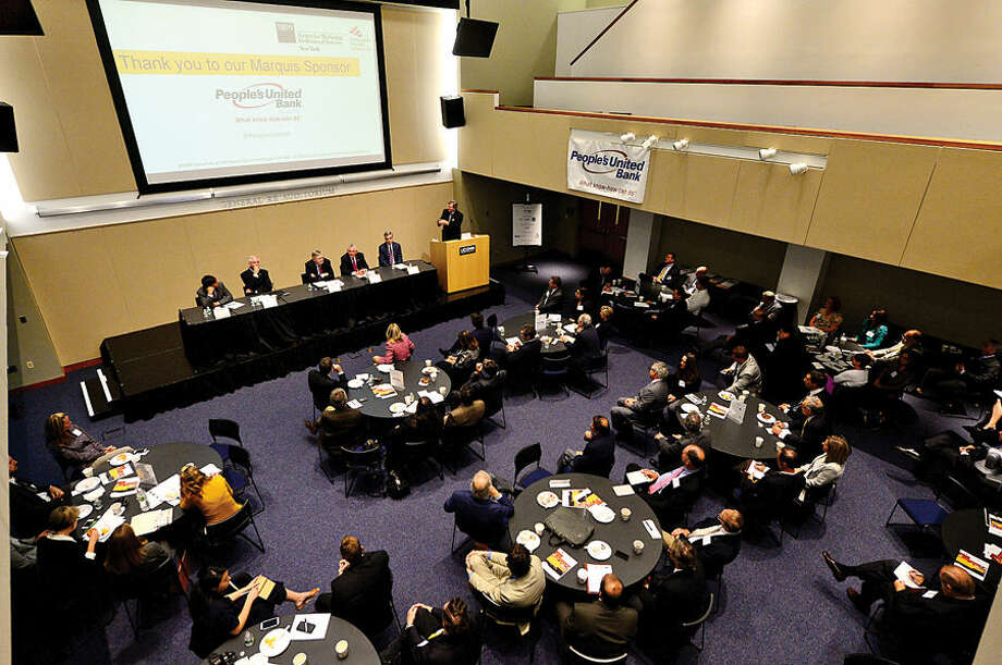 """Hour photo / Erik Trautmann The Society for Marketing Professional Services and Construction Institute sponsored a """"Meet the Mayors Forum"""" at UCONN Stamford Wednesday morning."""
