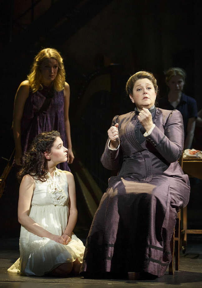 "In this image released by Boneau/Bryan-Brown, Camryn Manheim, right, appears with Sandra Mae Frank, foreground left, and Katie Boeck during a performance of ""Spring Awakening,"" in New York. The former ""The Practice"" star is showcasing a sign language skill in a crackling Broadway revival of ""Spring Awakening,"" which mixes hearing and deaf performers. (Joan Marcus/Boneau/Bryan-Brown via AP)"