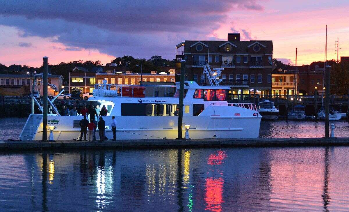 Hour Photo/Alex von Kleydorff The Maritime Aquarium welcomes their new vessel R/V Spirit of The Sound to Norwalk as they tie up at the town docks at Veterans Park on Wednesday night