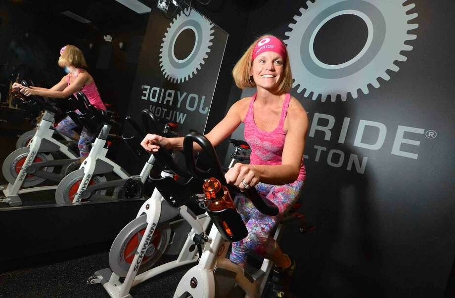 Wilton and Ridgefield JoyRide Cycling Studios Head Instructor Cindy Tamburri in the Wilton location.