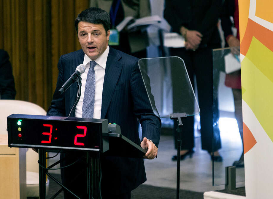 Italian Prime Minister Mateo Renzi speaks during the Climate Summit at United Nations headquarters, Tuesday, Sept. 23, 2014. (AP Photo/Craig Ruttle)