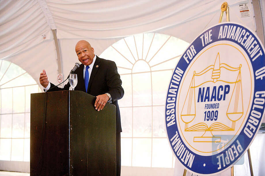 Hour photo / Erik Trautmann Congressman Elijah Cummings give his keynote address at the NAACP State Convention and Civil Rights LuncheonS aturday at the Hilton Hotel in Stamford.