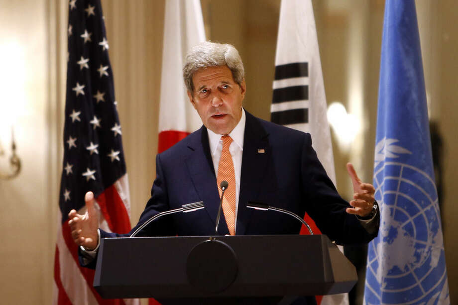 Secretary of State John Kerry delivers remarks during an event on human rights in North Korea at the Waldorf Astoria Hotel Tuesday, Sept. 23, 2014 in New York. (AP Photo/Jason DeCrow)