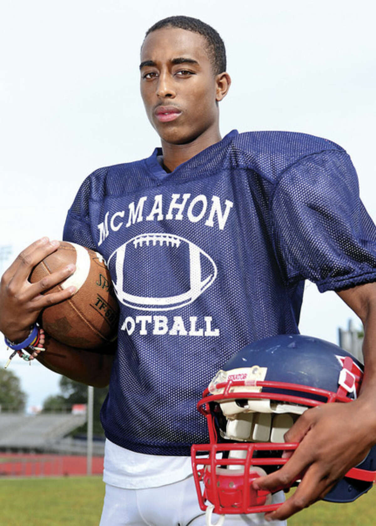 Hour photo/Erik Trautmann Brien McMahon High School senior running back Tyre Holman spent two years away from the football field, watching the games from the stands. He made the decision to return for his senior season, giving the Senators another weapon on offense.