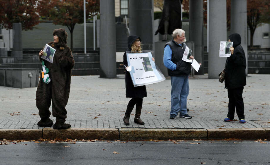 A woman wears a bear costume as she and other animal activists hold signs renewing their calls for New Jersey officials to help ensure the welfare of a bear that walks upright and has become a social media darling Tuesday, Nov. 10, 2015, Trenton, N.J. (AP Photo/Mel Evans)