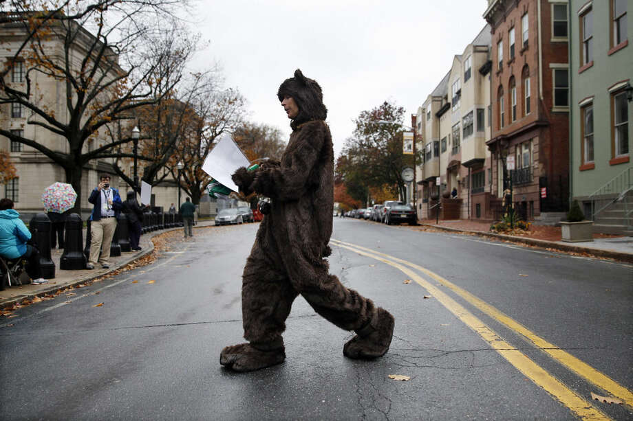 A woman, who declined to give her name, wears a bear costume as she and other animal activists in Trenton, N.J., on Tuesday, Nov. 10, 2015 renewed their calls for state officials to help ensure the welfare of a wild bear seen in videos walking upright. (AP Photo/Mel Evans)
