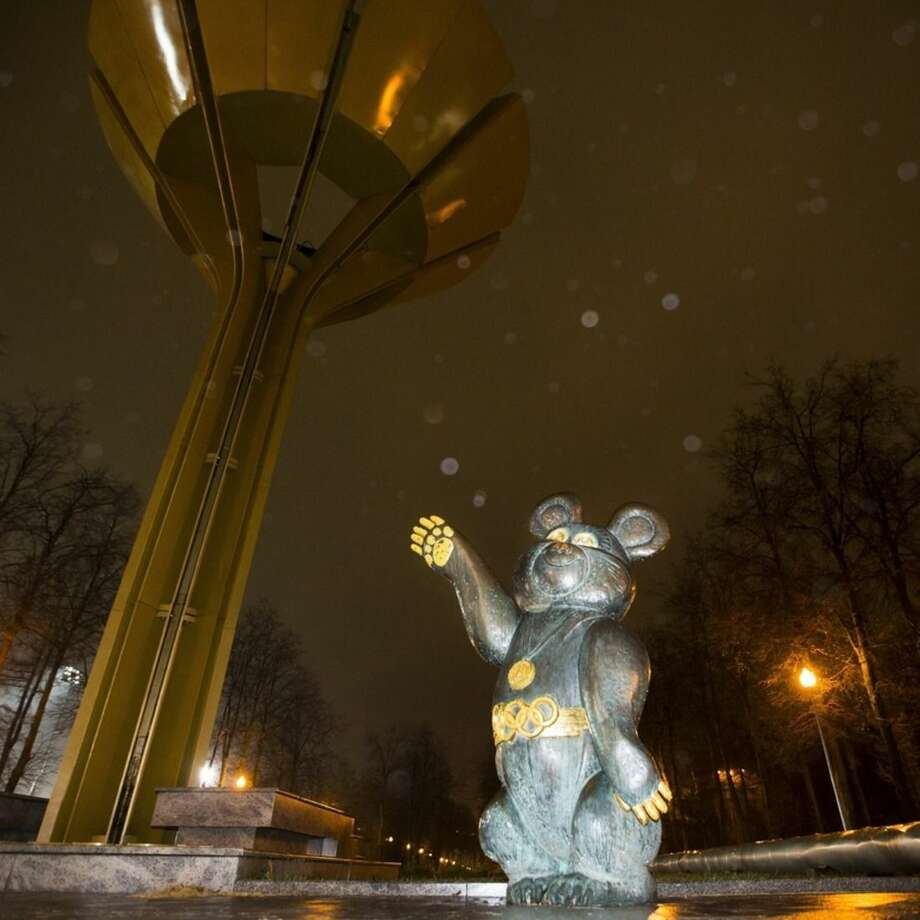 A Soviet style statue of Mishka, the symbol of 1980 Moscow Olympic games is seen near the Luzhniki stadium in Moscow, Russia, Tuesday, Nov. 10, 2015. A report Monday by a commission of the World Anti-Doping Agency accused Russia of widespread, state-sponsored doping and cover-ups by sports officials and track and field athletes, including Olympic medalists. (AP Photo/Pavel Golovkin)
