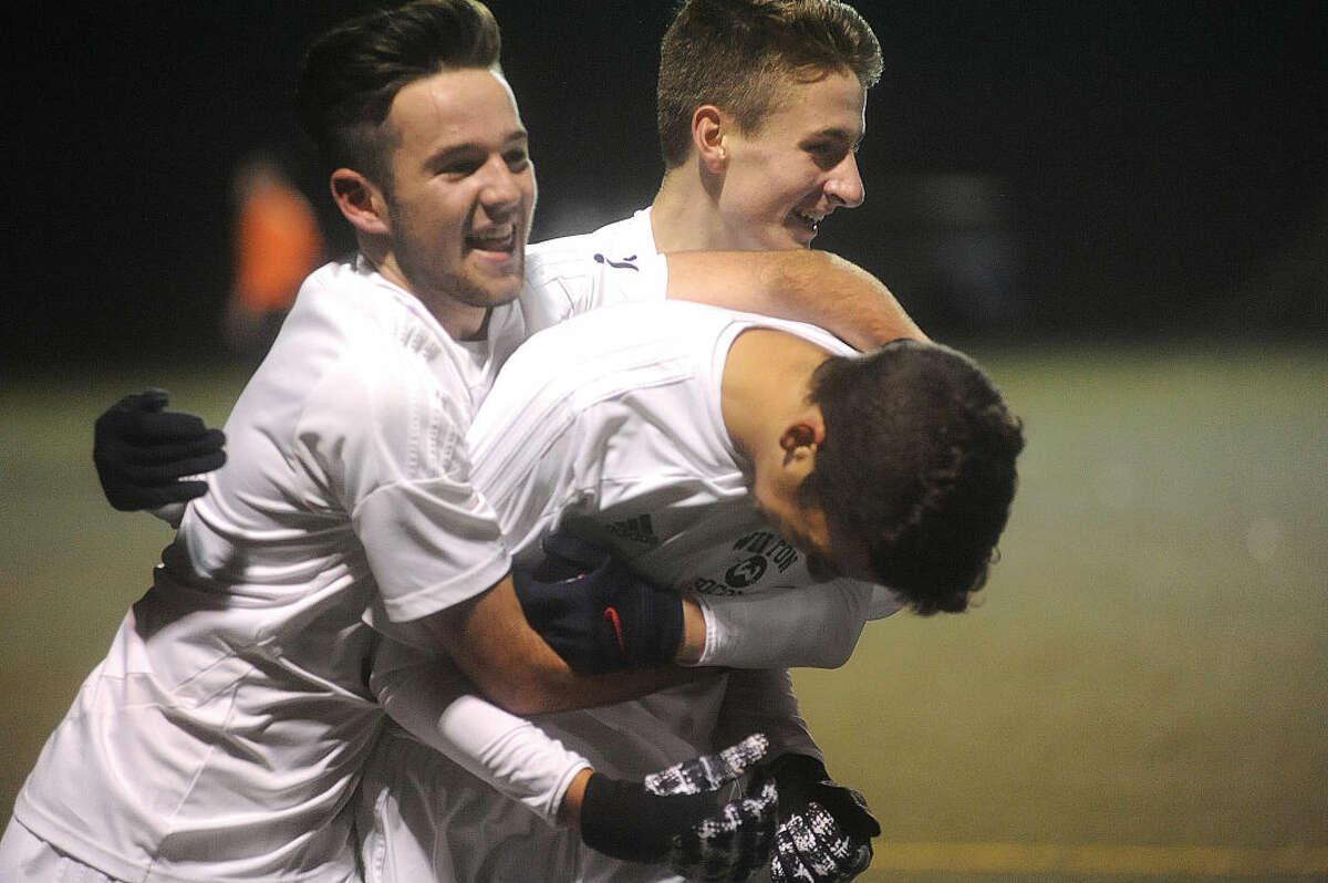 Wilton celebrates the first goal of the game. Hour photo/Matthew Vinci