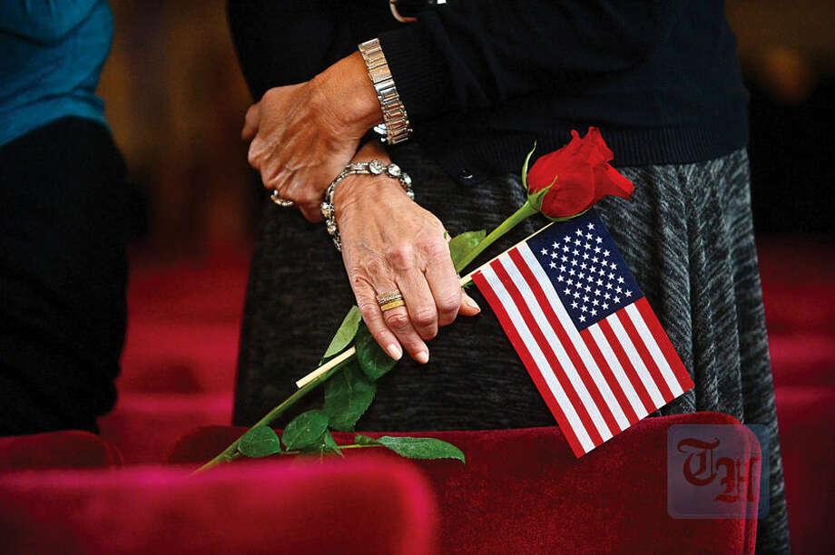 Hour photo / Erik Trautmann The Norwalk Veterans Memorial Committee holds their 2015 Veterans Day Ceremony Wednesday at the Norwalk Concert Hall.