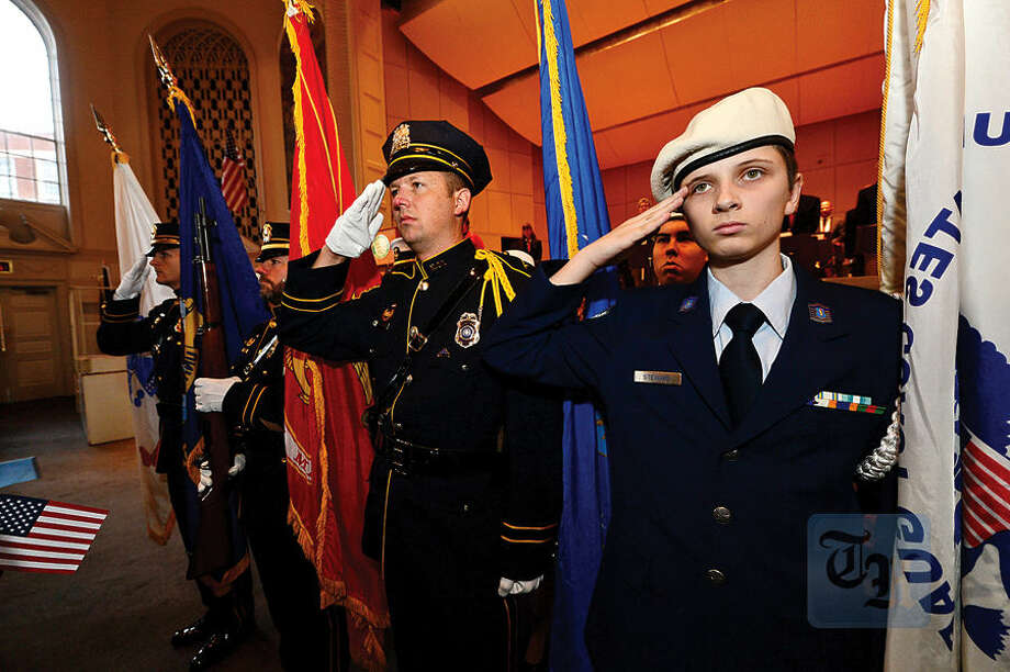 Hour photo / Erik Trautmann The Norwalk Veterans Memorial Committee holds their 2015 Veterans Day Ceremony Wednesday at the Norwalk Concert Hall.
