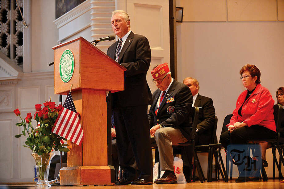 Hour photo / Erik Trautmann Norwalk Mayor Harry Rilling gives his remarks as The Norwalk Veterans Memorial Committee holds their 2015 Veterans Day Ceremony Wednesday at the Norwalk Concert Hall.