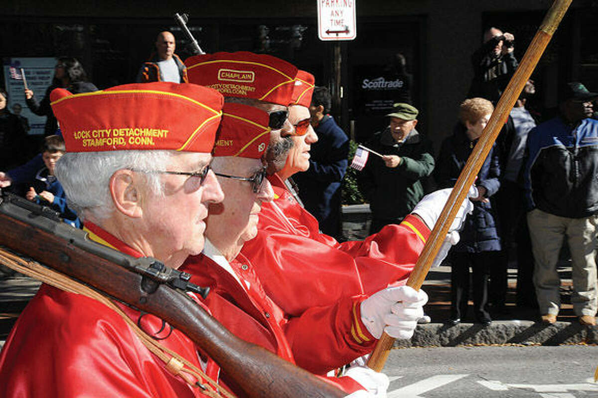 The annual Veterans Day Parade in Stamford. Hour photo/Matthew Vinci