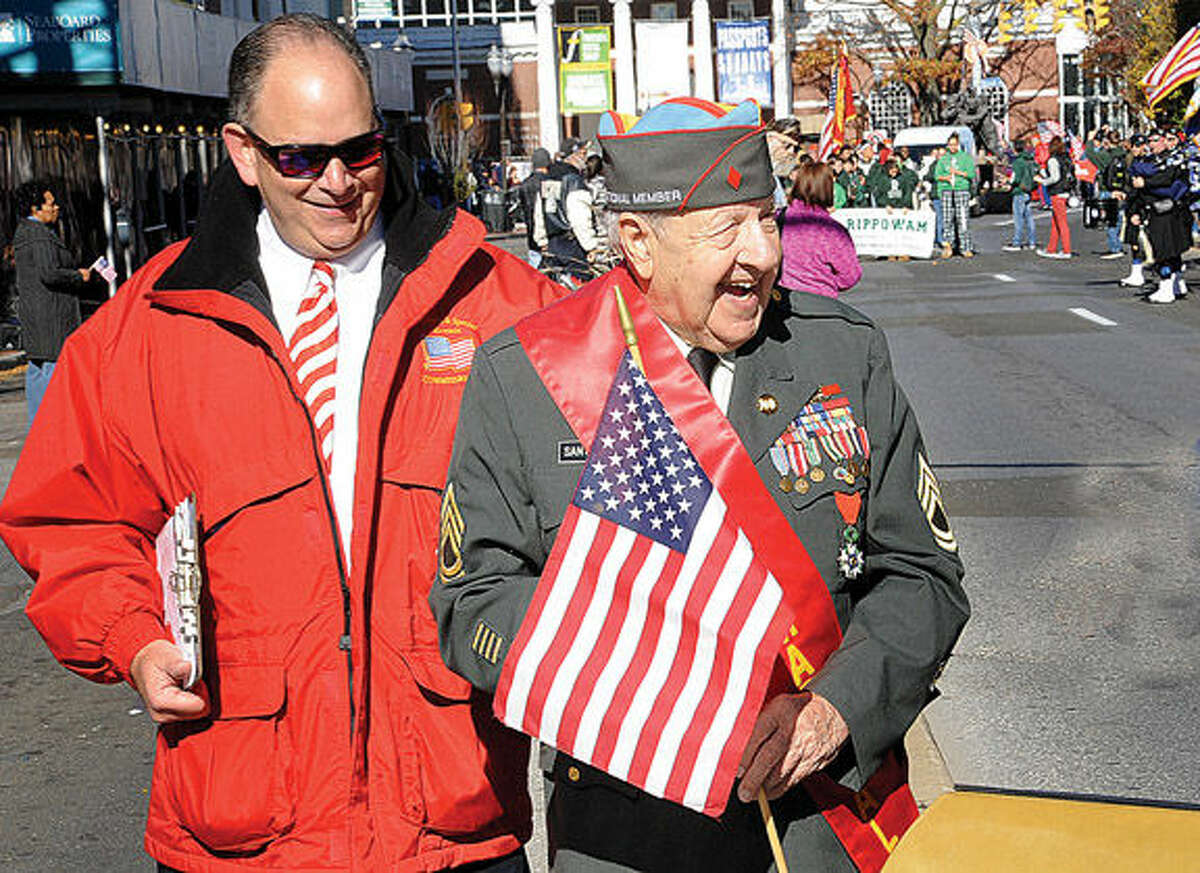 World War II veterean Dominick Daniel Santagata is the Grand Marshall at the Annual Veterans Day Parade in Stamford. Hour photo/Matthew Vinci