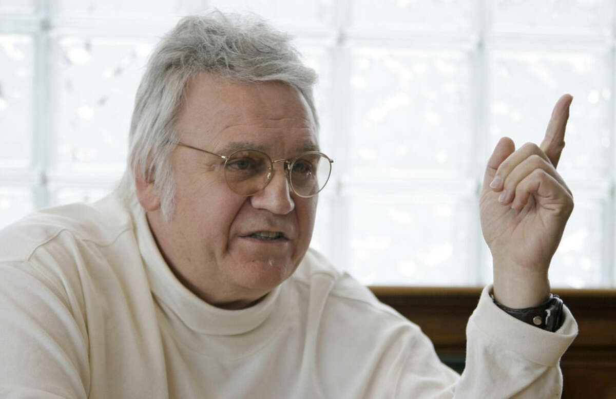 FILE - In this Feb. 25, 2010, file photo, former U.S. Rep. James Traficant Jr. talks about politics at a diner in Boardman, Ohio. Traficant, who spent time in prison on corruption and racketeering charges, has died after being critically injured in a tractor accident at his northeast Ohio home. He was 73. Dave Betras, the Mahoning County Democratic Party chairman, says Traficant died Saturday, Sept. 27, 2014 in the hospital. Betras says he was notified by the Traficant family attorney. (AP Photo/Tony Dejak, File)