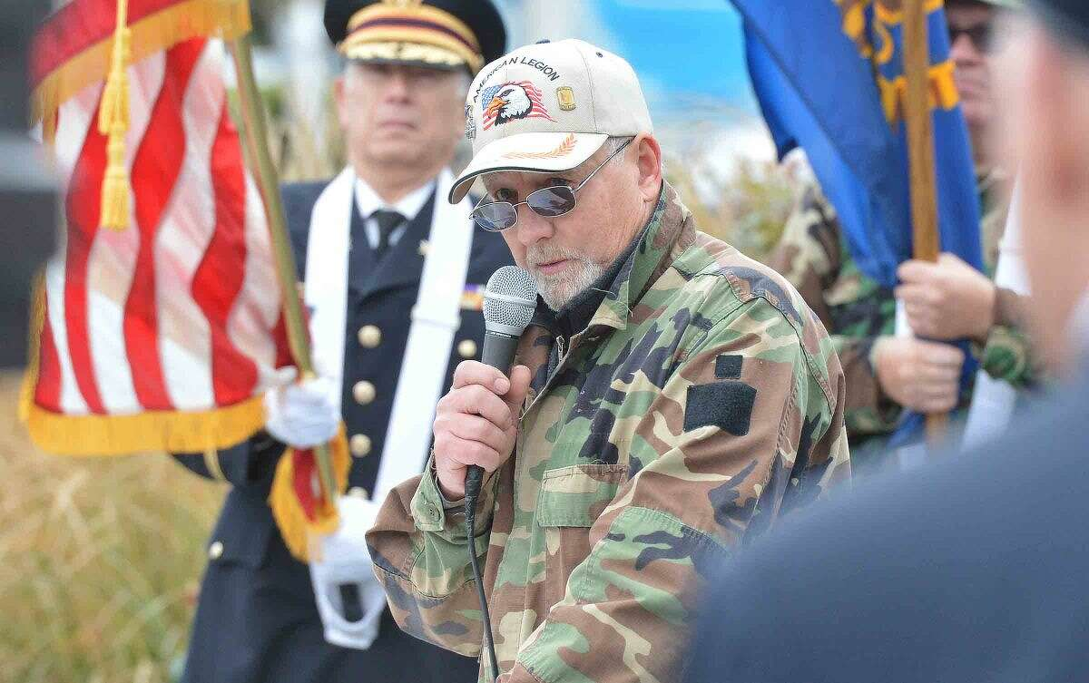 American Legion Post 86 Commander Don Hazzard shares some of his memories about his time in Vietnam during the Wilton Veterans Day Parade.