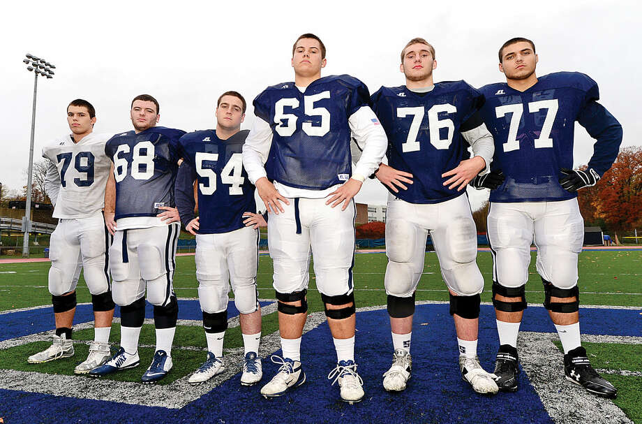 Staples' offensive line from the left Ari McCoy, Mac Barreca, Harry Garber, Jackson Ward, Michael Overton and Nicholas Roehm have been the backbone of the Wreckers' successful offense this season. (Hour photo/Erik Trautmann)