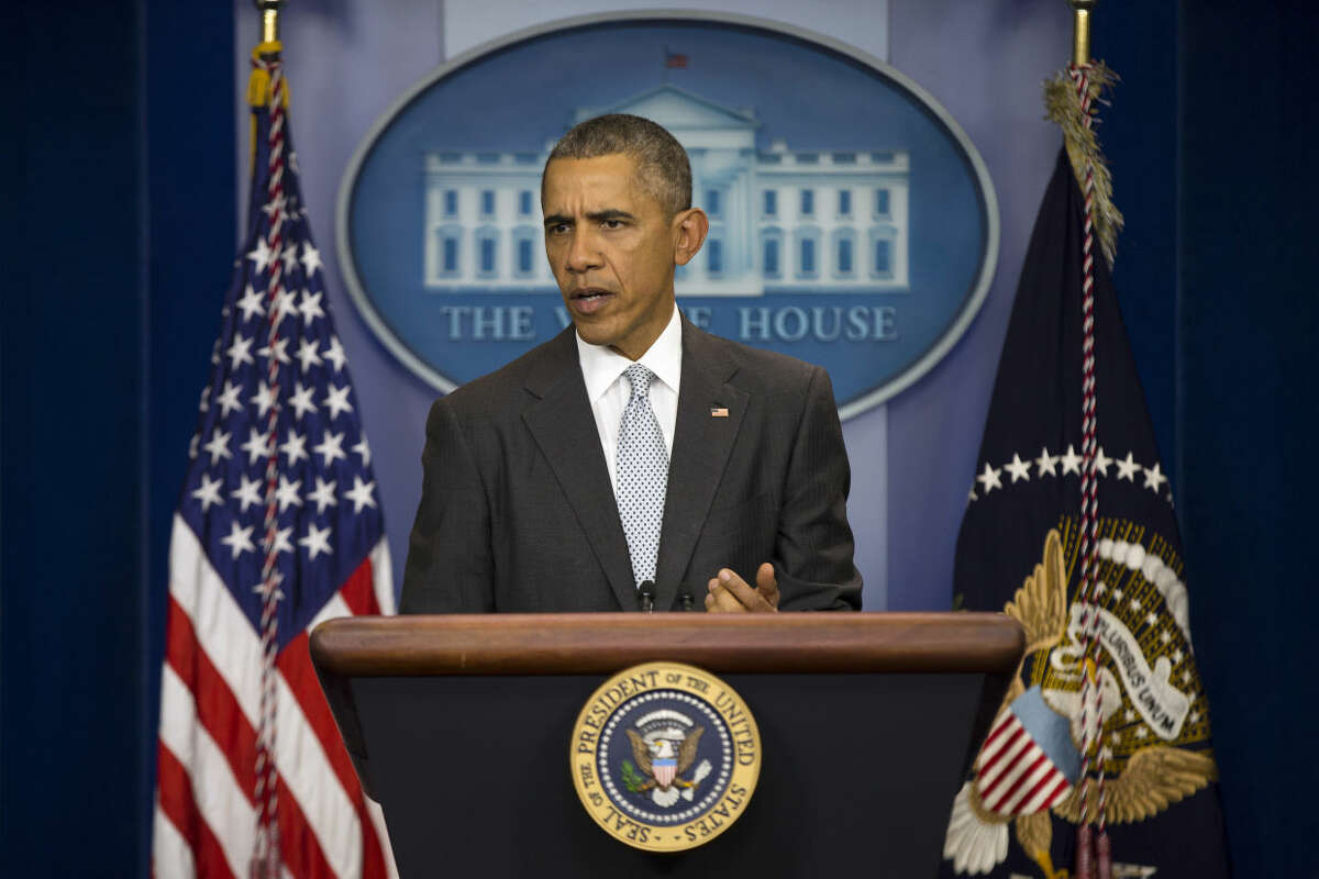 President Barack Obama speaks about attacks in Paris from the briefing room of the White House, on Friday, Nov. 13, 2015, in Washington. Obama is calling the attacks on Paris an
