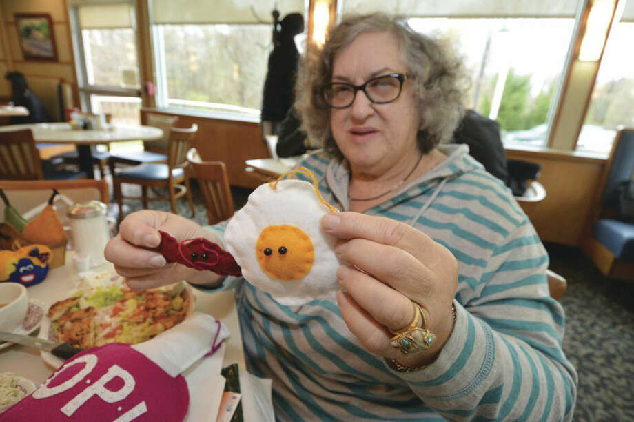 "Hour photo/Alex von KleydorffArtist Barbara Spiegel displays some of her food creations such as ""bacon and eggs."""