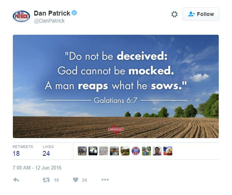 This tweet was sent out from Texas Lt. Governor Dan Patrick's account hours after a mass shooting an LGBT nightclub in Florida. Click the gallery to see some responses.