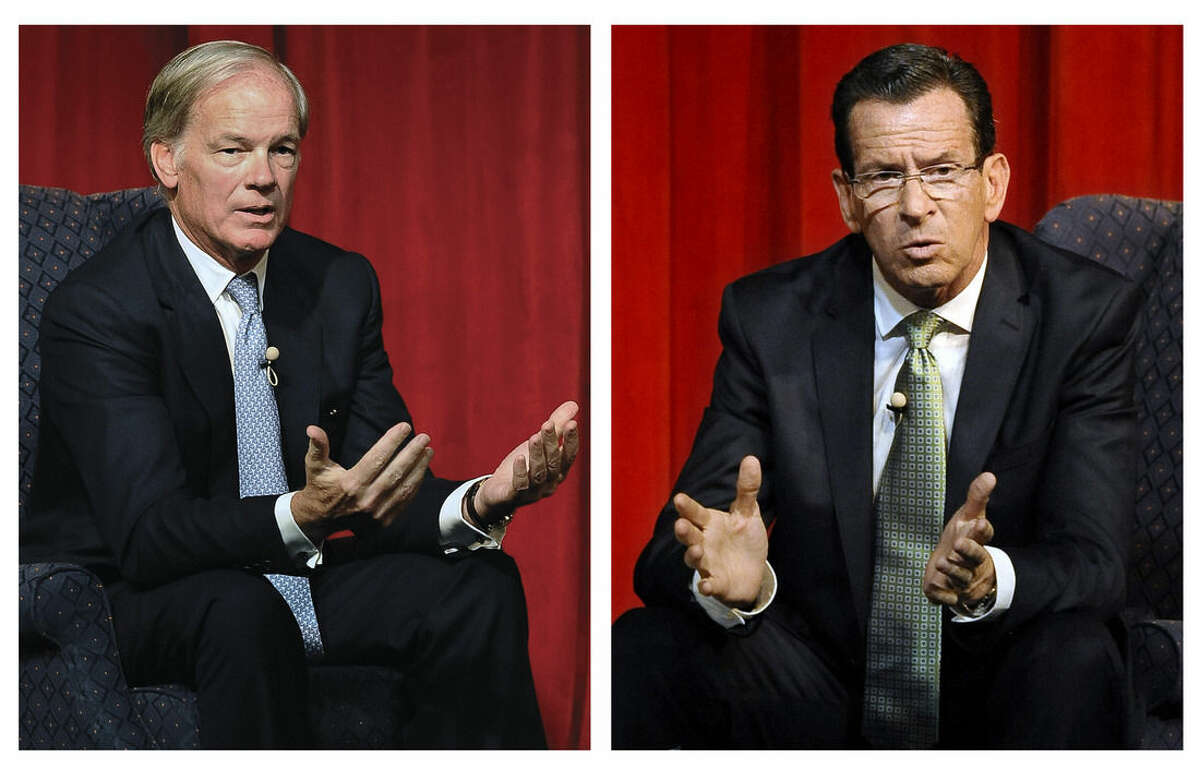 FILE - In these Aug. 27, 2014 file photos, Republican candidate for governor Tom Foley, left, and incumbent Democrat Gov. Dannel P. Malloy, right, deliver their closing remarks at the conclusion of a debate in Norwich, Conn. Both men are set to debate again Tuesday, Sept. 30 at the University of St. Joseph in West Hartford, and Thursday night, Oct. 2 at the University of Connecticut in Storrs. (AP Photo/Jessica Hill, File)