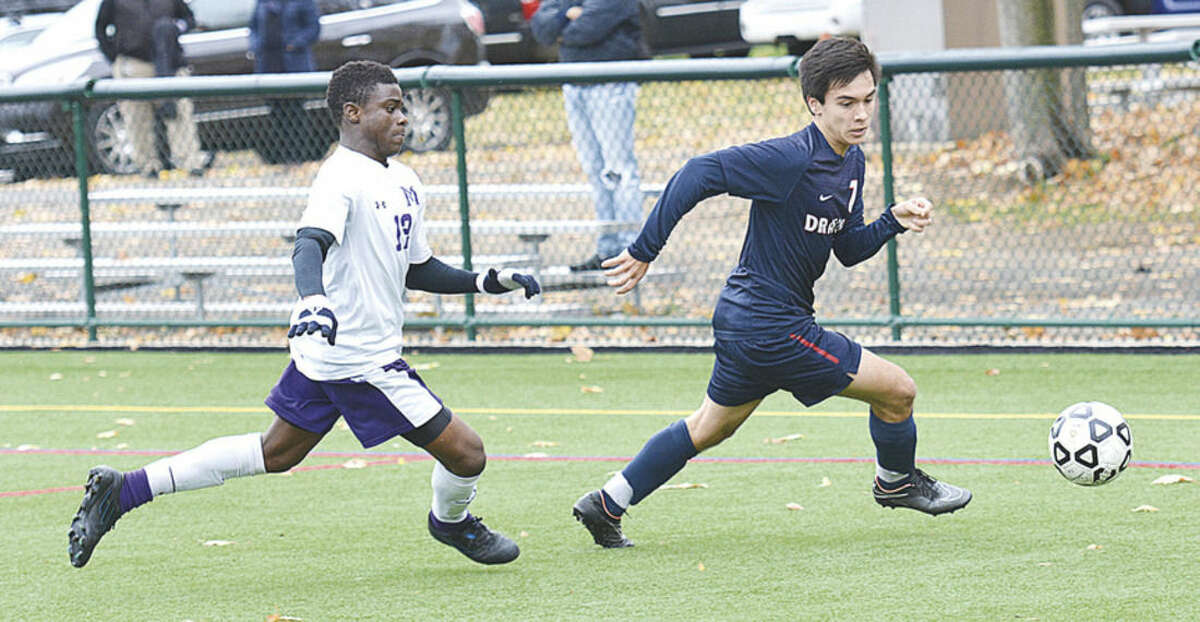 Photo courtesy of GFA Greens Farms Academy senior Matt Allen, right, a resident of Norwalk, had two goals in his team's FAA semifinal win over Masters. GFA went on to win the FAA tournament with a 1-0 victory over Rye Country Day School on Saturday.
