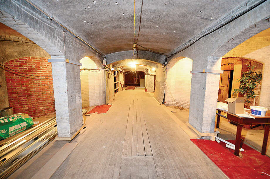 Hour photo / Erik Trautmann The bowling alley in the basemant of the Lockwood Mathews Mansion Museum. Phase Two of renovations to the Lockwood-Mathews Mansion Museum that includes a $700,000 project to install an elevator at the museum to make the new restrooms located in the basement compliant at with the Americans with Disabilities Act is largely complete.