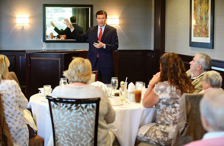U.S. Sen. Chris Murphy speaks at Wilton League of Women Voters Opening Meeting & Lunch at Rolling Hill Country Club Thursday afternoon.