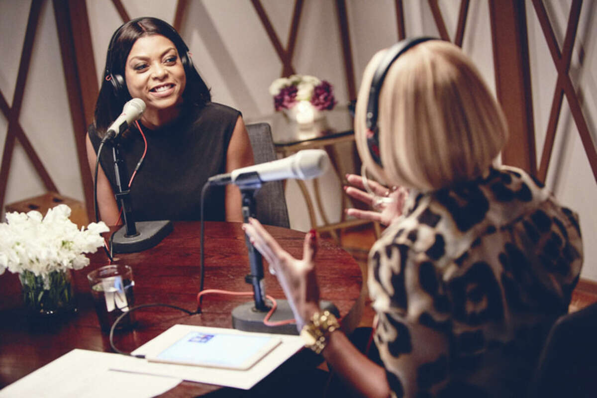 This Oct. 13, 2015 photo provided by Apple shows, Taraji P. Henson left, and Mary J. Blige, during episode 3 of Blige's new radio show,