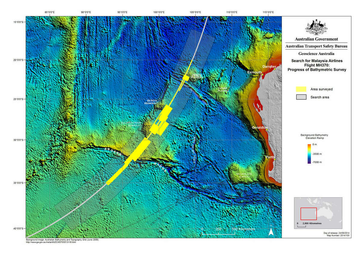 In this map provided on Sept. 24, 2014, by The Australian Transport Safety Bureau, details are presented in the search for the missing Malaysia Airlines Flight 370 in the southern Indian Ocean. After a four-month hiatus, the hunt for Malaysia Airlines Flight 370 is expected to resume Sunday, Oct. 5, 2014, in a desolate stretch of the Indian Ocean, with searchers lowering new equipment deep beneath the waves in a bid to finally solve one of the world's most perplexing aviation mysteries. (AP Photo/The Australian Transport Safety Bureau) EDITORIAL USE ONLY