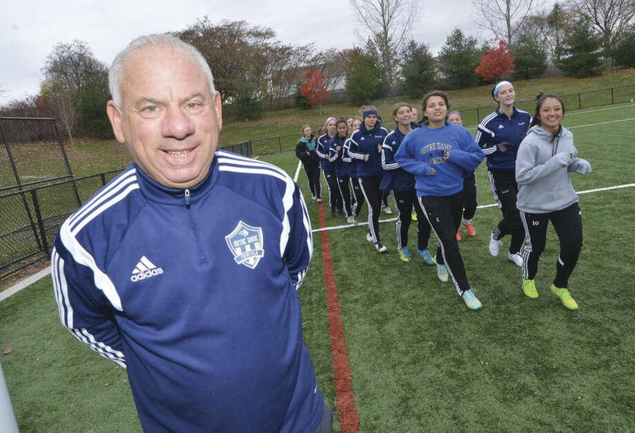 Hour Photo/Alex von Kleydorff notre Dame girls soccer coach Wayne Mones