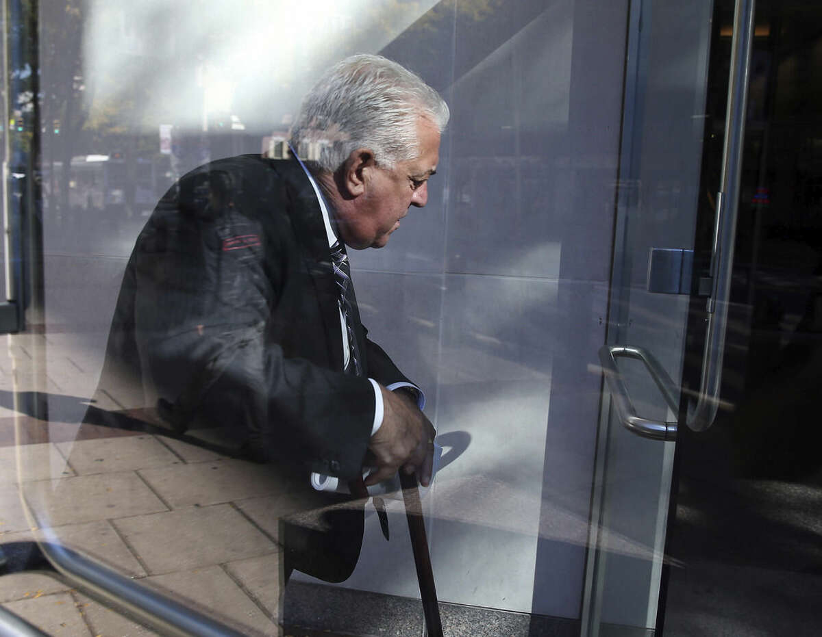 In this photo taken on Sept. 30, 2014, former Ironworkers Local 401 business agent Edward Sweeney arrives at the federal courthouse in Philadelphia. Prosecutors say the 53-year-old Sweeney has admitted a role in two fires and 10 extortion attempts (AP Photo/Philadelphia Daily News, David Maialetti) THE EVENING BULLETIN OUT, TV OUT; MAGS OUT; NO SALES.