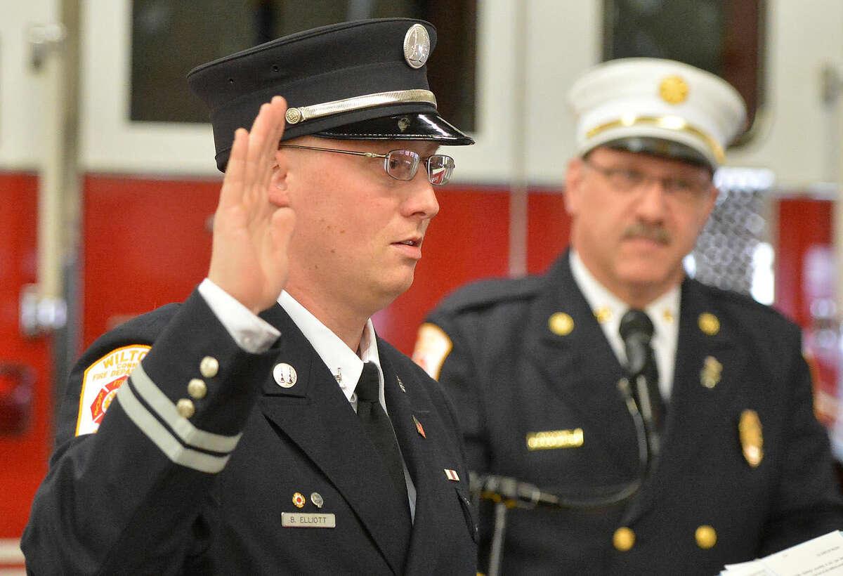 Hour Photo/Alex von Kleydorff Wilton Firefighter promotion ceremony at Fire Headquarters
