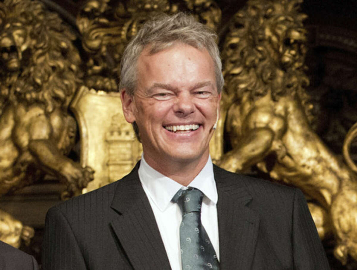 FILE - In this Sept. 5, 2014 file photo the winner of the 2014 Nobel Prize for Medicine Norwegian Edvard Moser smiles after being awarded the Koerber prize for European science in Hamburg, Germany. (AP Photo/dpa, Chrisitian Charisius, File)