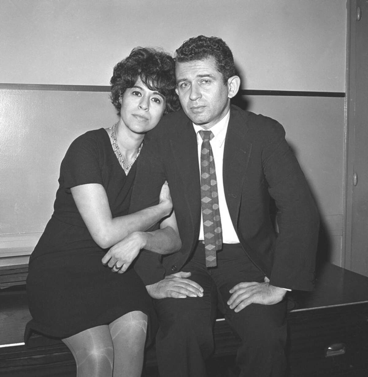 AP file photo/Anthony Camerano In this Dec. 29, 1960, file photo, author Norman Mailer and his wife, Adele, sit together in court as Norman Mailer answers an assault charge that he stabbed Adele after a party at their apartment.