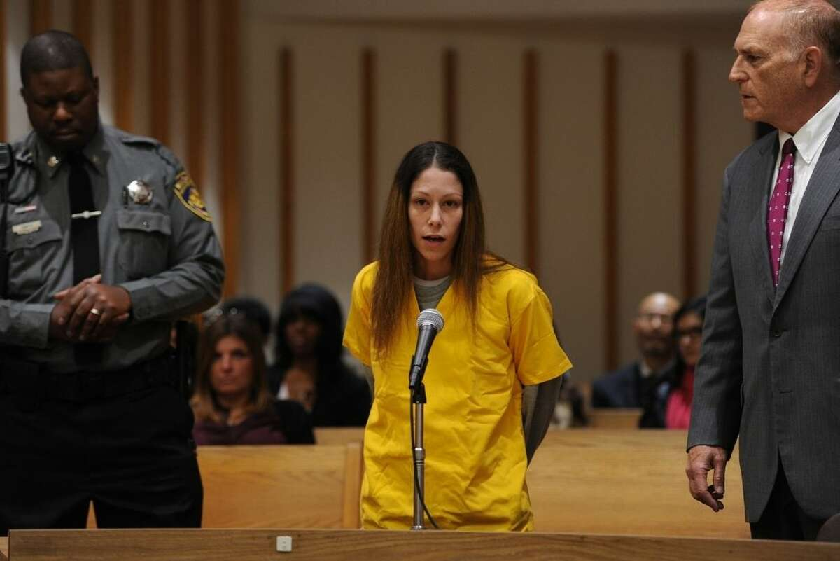 Jennifer Valiante, a girlfriend of Kyle Navin, who is charged with killing his parents, appears at a presentment at the Fairfield County Courthouse in Bridgeport, Conn. Tuesday, Nov. 24, 2015. Valiante has pleaded not guilty to conspiracy to commit murder. (Autumn Driscoll/Hearst Connecticut Media via AP, Pool) MANDATORY CREDIT
