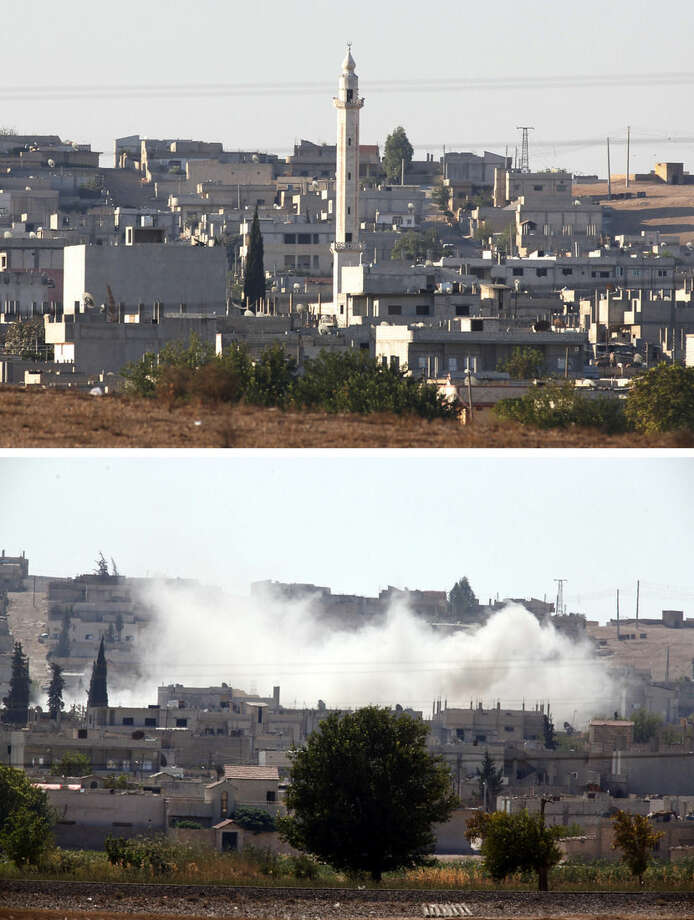 In this combo image of two photographs shot from Mursitpinar in the outskirts of Suruc at the Turkey-Syria border, a partial view of Kobani, Syria, top, with a mosque's minaret, and the same scene, bottom, shot from a different angle several hours later, with smoke rising from a strike that destroyed the minaret, during heavy fighting between militants with the Islamic State group and Syrian Kurds, Wednesday, Oct. 8, 2014. Kobani, also known as Ayn Arab and its surrounding areas have been under attack since mid-September, with militants capturing dozens of nearby Kurdish villages. (AP Photo/Lefteris Pitarakis)