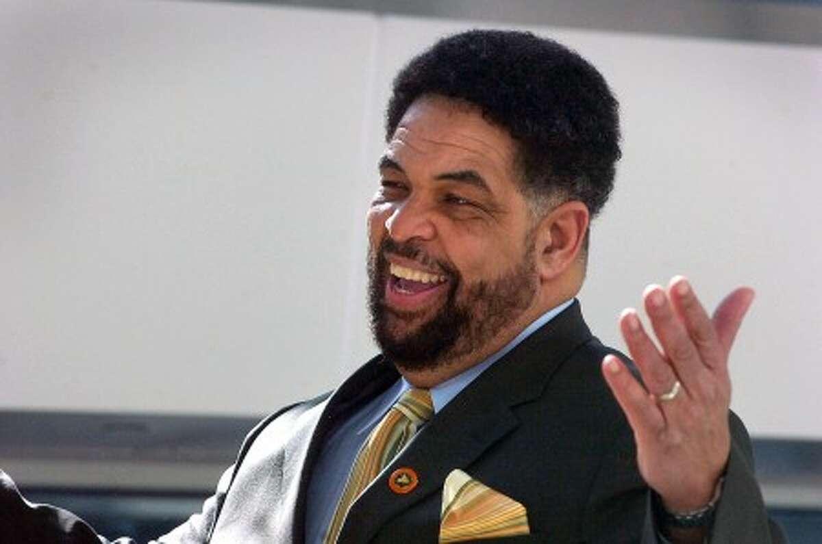 Photo/Alex von Kleydorff. Rodney Bass speaks at a Community Expo celebrating Black History month at UCONN Stamford.