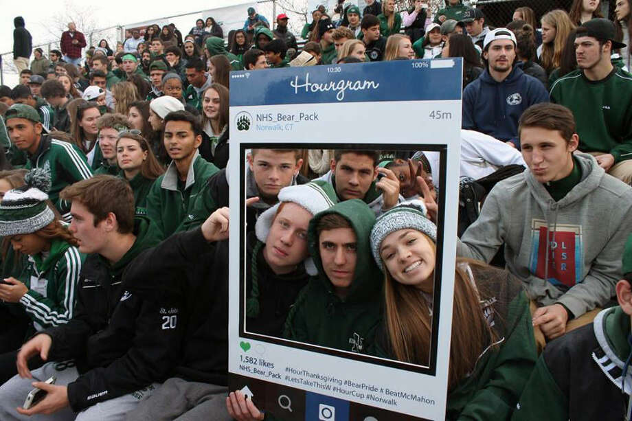"""The Norwalk student section """"The Bear Pack"""" took some photos for The Hour during the Thanksgiving football game between Norwalk and Brien McMahon. (Bear Pack Photo)"""