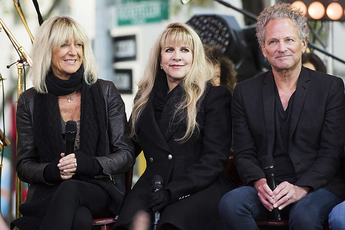 Christine McVie, left, Stevie Nicks and Lindsey Buckingham, from the band Fleetwood Mac, appear on NBC's