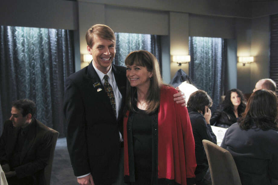 "This photo provided by NBC Universal shows Jack McBrayer, left, as Kenneth, and Jan Hooks as Verna in season 4 of the television series, ""30 Rock."" Hooks, the former ""Saturday Night Live"" cast member has died. She was 57. Hooks died Thursday, Oct. 9, 2014 according to her agent Lisa Lieberman. (AP Photo/NBCU Photo Bank, Ali Goldstein)"