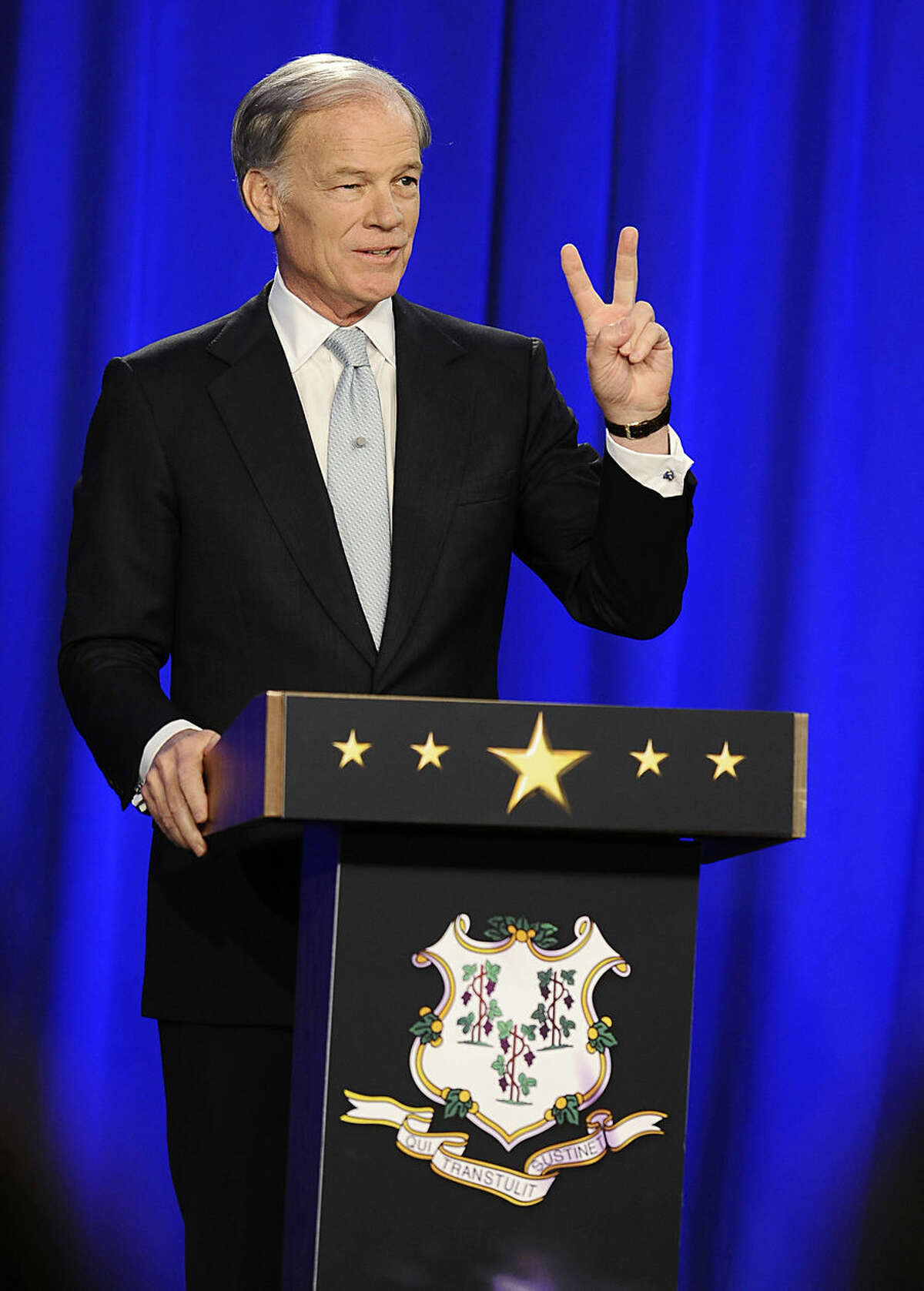 Republican candidate for governor Tom Foley, gestures as he speaks during a debate with incumbent Democrat Gov. Dannel P. Malloy, Thursday, Oct. 9, 2014, in Hartford, Conn. (AP Photo/Jessica Hill)