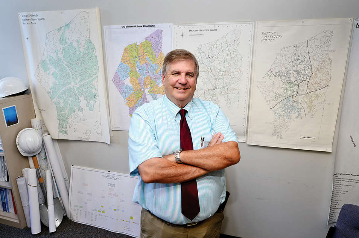 Hour photo / Erik Trautmann Newly appointed Director of Public Works Bruce J. Chimento speaks about his goals for the Norwalk Department of Public Works.