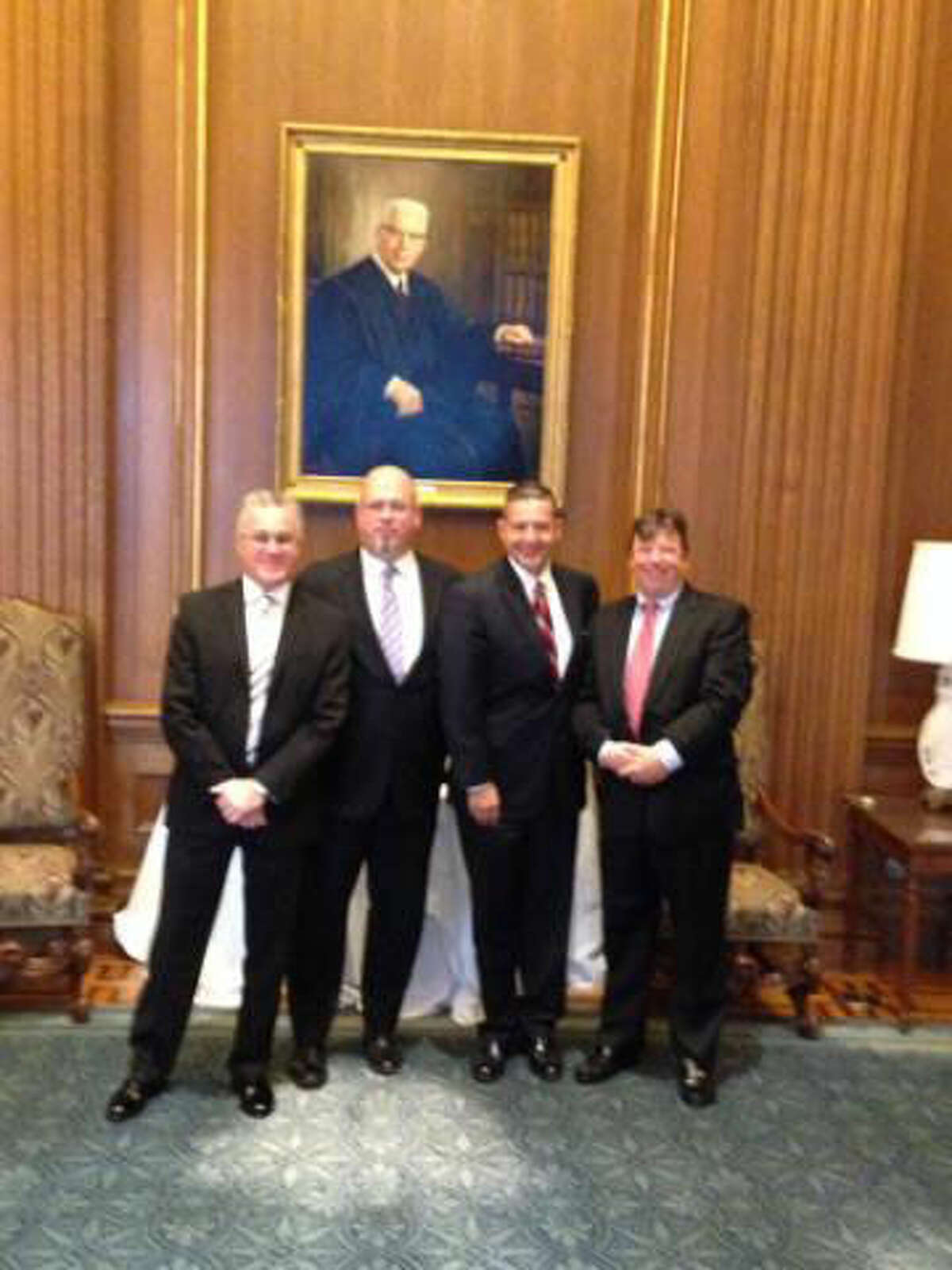 Contributed photo From left to right, Frank Bevilacqua, John Thygerson, Kevin Black and Matt Brovender visit the U.S. Supreme Court in Washington, DC.