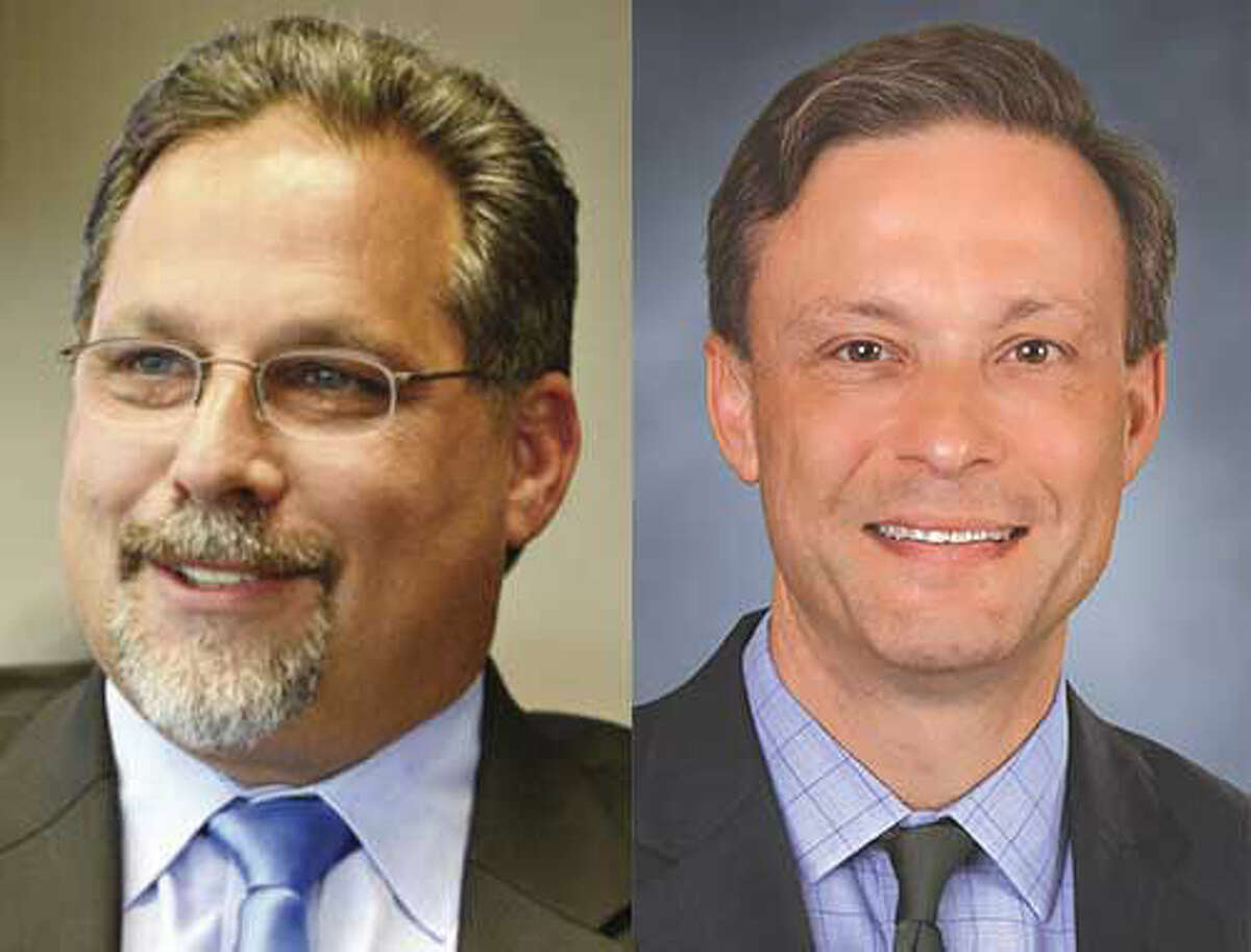 Democrat Andrew S. Garfunkel (left) and Republican Fred Wilms (right) vie for the 142nd District seat in a Nov. 4 election.
